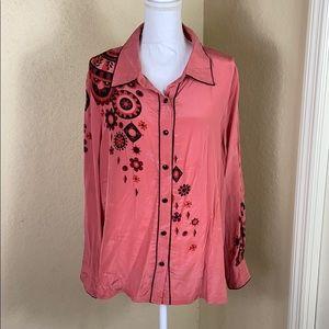 Bob Mackie wearable art 💯 silk button front top